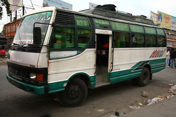 Our bus from Pokhara to Besisahar. The bus stops every time someone wants to get in or out so average speed is very low.