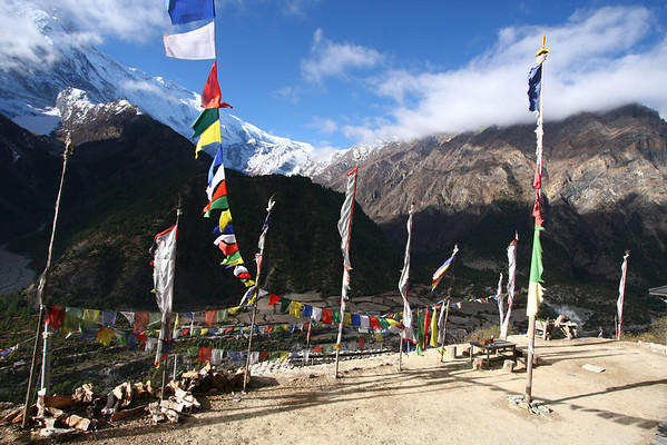 View from a temple in Upper Pisang. Here you have  the option to continue down in the valley or take a far more scenery alternative if you climb a bit.