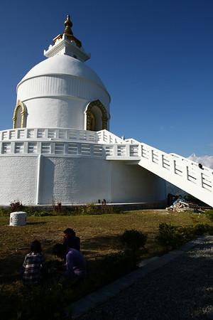 Peace Temple on a hill near Pokhara.