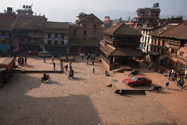 Main square in Bhaktapur. Cars are allowed only in couple of places, most of the city being for pedestrians.