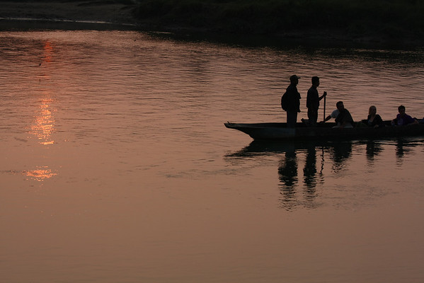 Crossing the river to get in Chitwan National Park.