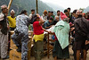 Goods received as help after the earthquake. This was a point where they were being distributed to people.