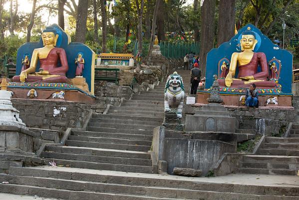 Stairs leading to Swayambhunath Stupa or Monkey temple.