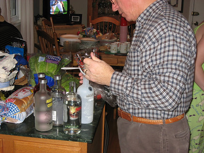 Dad..the mixologist...preparing for the party.