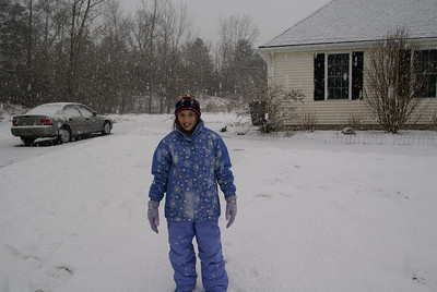 Bea and I headed out when the Snow started..Big flakes = small snow !