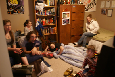 sorry for the blurs: Josh, Chloe, Bea, Rachel, Spence, Steve! New Year's Eve in Steve and Josh's world