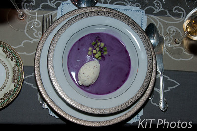 "This beautiful dish is Tim's Purple Cabbage Gazpacho with Grain Mustard Glace.  Served with Veuve Clicquot Rose ""Reserve"" Champagne 2002."