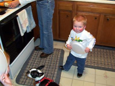 Wyatt and Mugsy getting some food