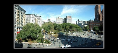 "This is a panorama that I have stitched from a few seperate photos of union square - taken from the shop window of DSW shoe shop - the manager said ""Welcome to the view from my office""."