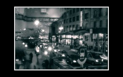 I really enjoy this photo - taken frmo a little deli near imes square where we stopped for a pee and a coffee.