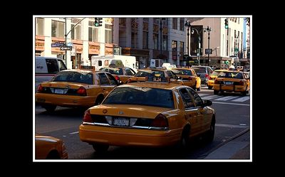 I tried for most of the holiday to get the taxi-tastic shot of NYC where the whole road was chock full of taxis, with no cars just a sea of yellow - this isn't the best - but it isn't bad.