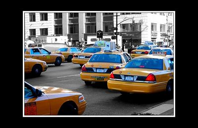 Found the sea of Taxis photo that I wanted - then just greyed out the rest of the photo to focus purely on the yellow and blue of the motors.
