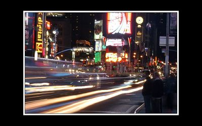 One of my attempts at catching the traffic through Times square - showing the hustle and bustle...