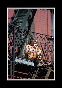 Only in NY can you exit your apt window bum-crack first and do your nails whilst on the phone and sunbathing.