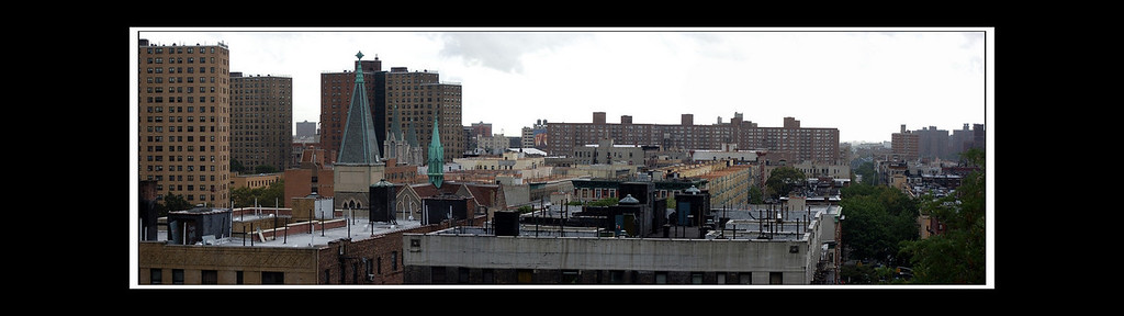 This is a match up of three photos into a panorama which pans across the rooftops of Harlem and beyond.