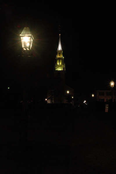 Gas lamp on Queen Anne's Square leading to Trinity Church