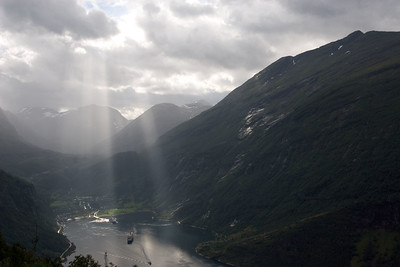 View on Geiranger and Geirangerfjorden.