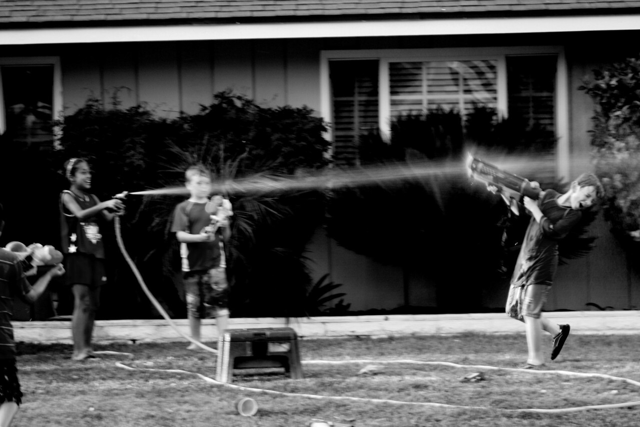 Blasted in a squirt gun fight.  Lost to the Hose. (this was really blurr)
