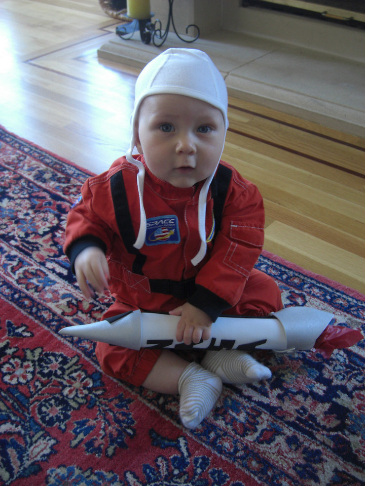 My first Halloween - with the rocket my mom made