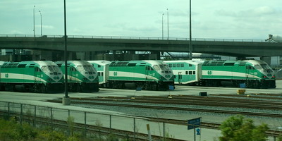 GO Trains in the depot