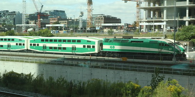 Trains stabled outside Toronto Union station.