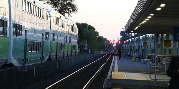 Toronto bound train (left) and westbound train (right) at Port Credit.