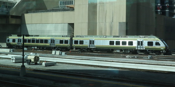 Union Pearson (UP) Express; the airport shuttle arriving at Toronto Union