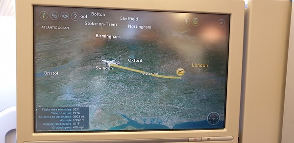 On G-VIIK (BA99 to YYZ), following the route on the in-seat screen.