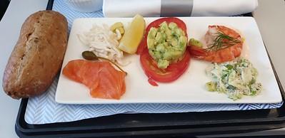 On G-EUPS (BA1483 to LHR), Salmon and tomato on the flight to London.