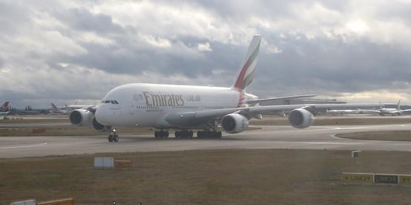 Emirates A380 A6-EUI taxiing at Heathrow
