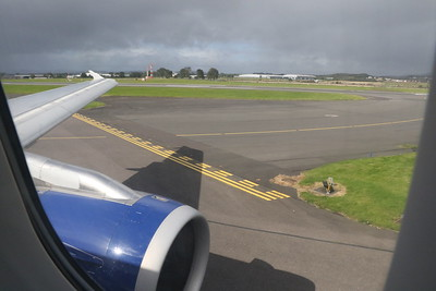 On G-EUPS (BA1483 to LHR), the view out of the window whilst taxiing to runway 23 at Glasgow Airport.