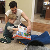 Opening a present from Uncle Jeff.