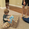 Now, on to a big one!  This is from Grandma, too!  Chase likes ripping the paper.