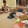 Now the computer is going and Chase is opening presents.
