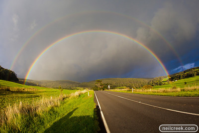 Driving on the Great Ocean Road in the Otways, we saw the most spectacular rainbow we have ever seen, It was stunning and it lasted for many minutes.