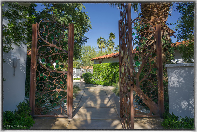 Gate into Alcazar Hotel, Palm Springs