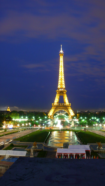 The Eiffel Tower at night.  A 20 second exposure, straight out of the camera.