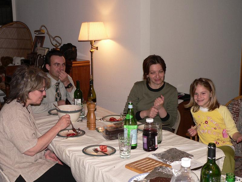 Sara, Kamenko, Vesna and Bonnie at the seder table