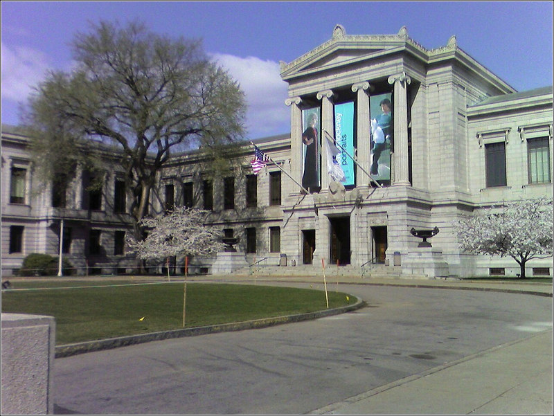 Shot of the Museum of Fine Arts with flowering trees out front (taken with my cell phone)