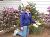 Marian shows off her daffs and azaleas in bloom