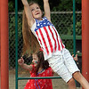 4th of July celebration at Pelham Elementary School. Kinslee Masterson, 5, top, and Lily Ransom, 5, both of Pelham. (SUN/Julia Malakie)