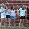 4th of July celebration at Pelham Elementary School. From left, Terryn Brunelle, Kaitlyn Lafontaine, Brooke Fraser and Averie Duggan, all rising seniors at Pelham High, and Sam Passamonte and Angie Hurr, with her dog Bennie, who are both 2017 Pelham High grads. (SUN/Julia Malakie)