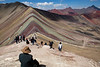 Rainbow Mountain accessible from both left and right. The most used path is the one from the right. <br /> <br /> The same path splits and one of them heads towards the Red Valley. Only a few companies include it in the itinerary, presumably because tourists are not yet acclimatized with  the altitude and it can be exhausting.<br /> <br /> If you feel in good shape it's well worth going back that way.
