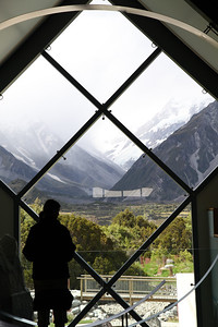 Looking towards Mt Cook from the souvenir shop, Mt Cook Reserve, New Zealand
