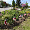 Flags on traffic island at Main and Hollis Streets in Groton, ahead of Memorial Day weekend.  (SUN/Julia Malakie)