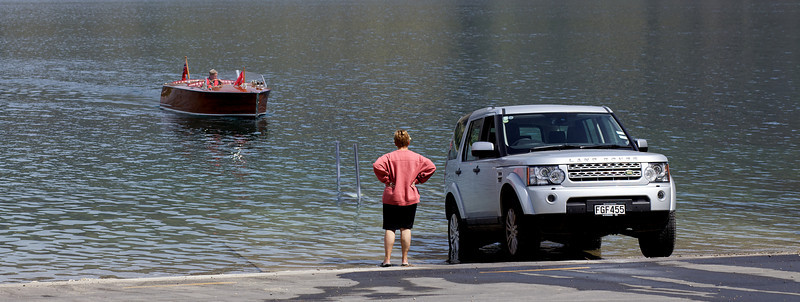 Lake Wanaka Marina Launching Ramp with Land Rover and Classic Wooden Boat