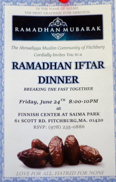 Furqan Mehmud discusses Friday's Ramadhan dinner sponsored by the Ahmadiyya Muslim Community of Fitchburg. SENTINEL & ENTERPRISE / Ashley Green
