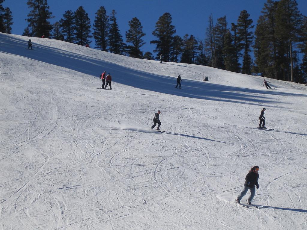 Cameron coming down a fun blue trail.