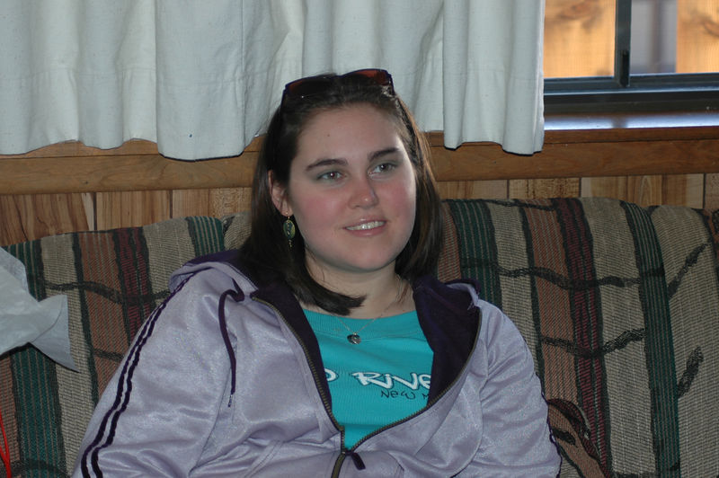 Danielle Nelson relaxing in the condo.