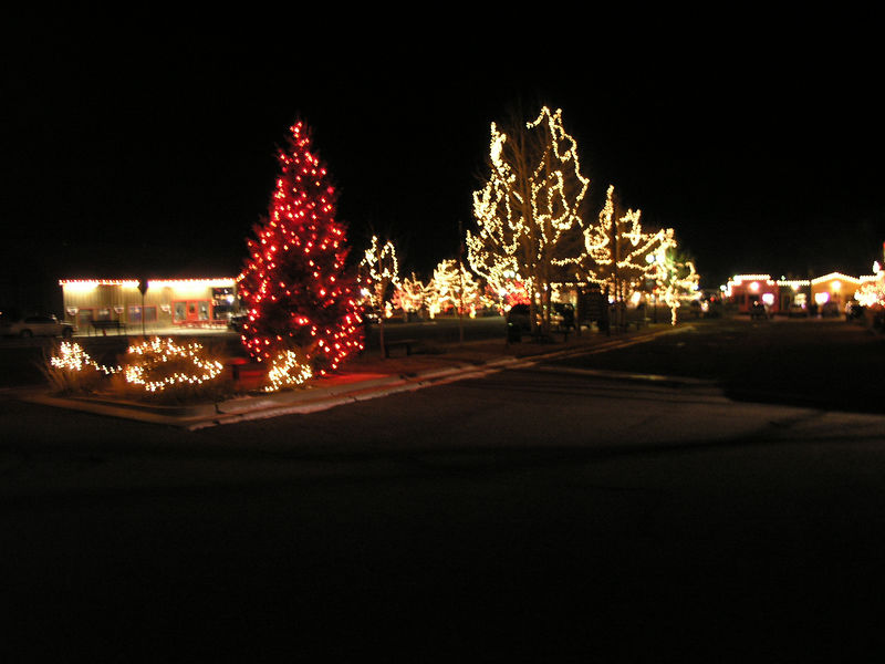 The lights on display in Red River's park that is on the main street.